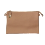 007C Solid Color Buckle Clutch, Apricot