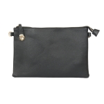 007C Solid Color Buckle Clutch, Black