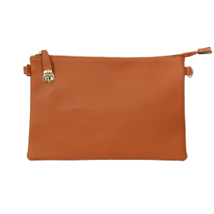 007C Solid Color Buckle Clutch, Brown