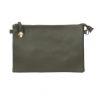 007C Solid Color Buckle Clutch, Green