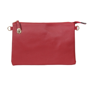 007C Solid Color Buckle Clutch, Red
