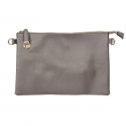 007C Solid Color Buckle Clutch, Silver Grey