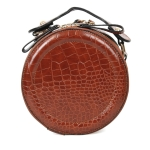 089 Faux Leather Round Handbag, Brown