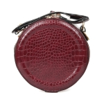089 Faux Leather Round Handbag, Wine