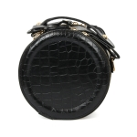 089 Faux Leather Round Handbag, Black