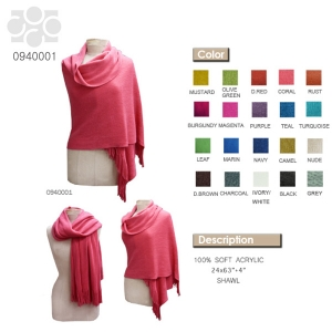0940001 Solid Color Soft Shawl