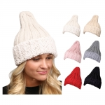 LOH080 Faux Fur Trim Knit Beanie
