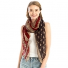 LOF829 Pleated USA Flag Oblong Scarf