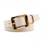 FSA004 Solid Color Belt w/Leopard Buckle, Beige
