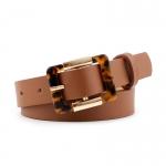 FSA004 Solid Color Belt w/Leopard Buckle, Camel