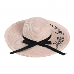 FH034A Straw Lettering Summer Hat, Pink