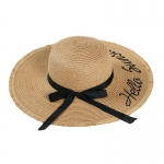FH034A Straw Lettering Summer Hat, Khaki