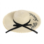 FH034A Straw Lettering Summer Hat, Beige