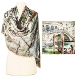 15HYSF234 Venice Print Square Wool Scarf