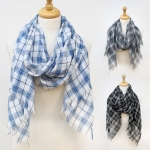 16006 Woven Checkered Yarn Embellished Scarf