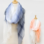 18002 Woven Two Tone Checkered Yarn Embellished Scarf