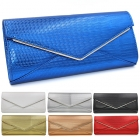 18041 Pattern Embossed Envelope Clutch with Chain Strap