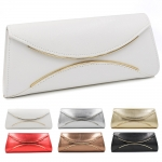 18042 Gold Metal Accent Clutch with Chain Strap