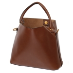 2047 Solid Color Tote bag with Small Pouch, Brown