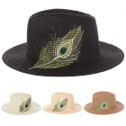 AO3009 Feather Embroidered Woven Hat