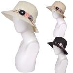 AO3016 Flower Deco Woven Hat
