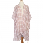 50001 Plaid Kimono W/Frayed Edges, Rose