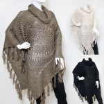 50037 Cowl Neck Knitted Poncho with Tassels