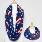 50039 US Flag Mohair Style Infinity Scarf