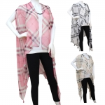 50172 Plaid Long Poncho