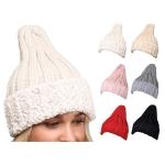 LOH080 Faux Fur Trim Knit Beanie