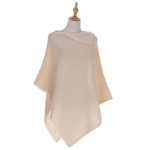 AO6066 Solid Poncho W/ Pearls, Beige