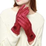 CG8002 Suede Feel Pom Pom Touchscreen Gloves, Burgundy
