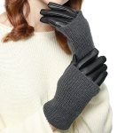 CG8006 Knit Trimmed Faux Leather Gloves