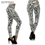827PT083 Flowery Abstract Rose Printed Legging