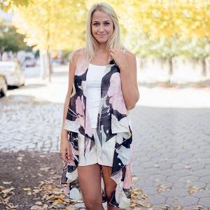 SVY8373 Floral Print Scarf Vest
