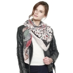 CS8425 Mixed Nature Print Square Scarf, Pink