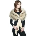 CS8437 Faux Fur Shawl Scarf W/ Tie, Beige