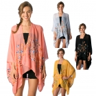 CP8555 Floral Embroidery Poncho Cape