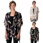 CP8565 Feather Print Kimono with Tassel