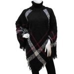 883081 Ladies Winter High Neck Poncho, Black