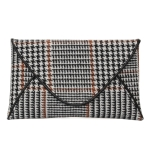 90220 Houndtooth Pattern Clutch/Crossbody Bag, White/Brown