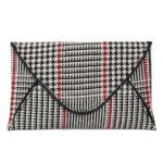 90220 Houndtooth Pattern Clutch/Crossbody Bag, White/Red