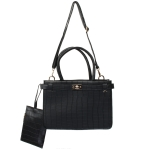 1905 Solid Color Top Handle Padlock Handbag, Black