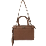 1905 Solid Color Top Handle Padlock Handbag, Brown