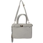 1905 Solid Color Top Handle Padlock Handbag, Grey