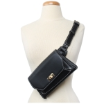 91838 Solid White Stitch Cross body/ Fanny Pack, Black