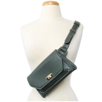 91838 Solid White Stitch Cross body/ Fanny Pack, Green