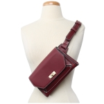 91838 Solid White Stitch Cross body/ Fanny Pack, Maroon