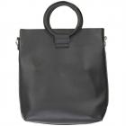 91872 Circle Top Handle Solid Tote Bag, Black