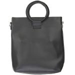 91872 Circle Handle Solid Tote Bag, Black